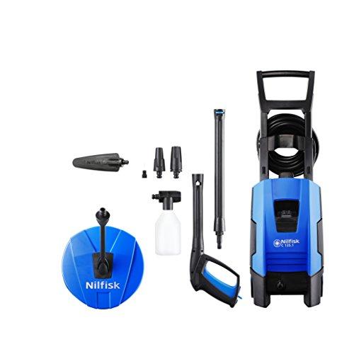 Nilfisk E 135 bar C135.1 -8 XTRA HOME Hochdruckreiniger für Haushalt, Außenbereich, Autowäsche und Gartenarbeiten – inklusive Terrassenreinigungsset – 1800-W-Induktionsmotor, 230 V (blau)