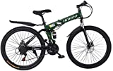 26 Inch Adult Mountain Bikes, Unisex Folding Bike Non-Slip Bicycles - Fast-Speed Comfortable Outroad Racing Cycling - 21 Speed Gears Dual Disc Brakes Mountain Bicycle