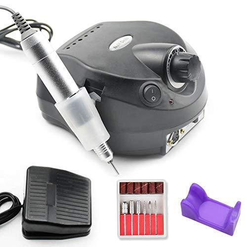 30000RPM Trapano Elettrico per Unghie Nail Drill per Manicure Pedicure Fresa Basso Rumore Termico con 6 Punte per Unghie per Chiodo Salone,Black
