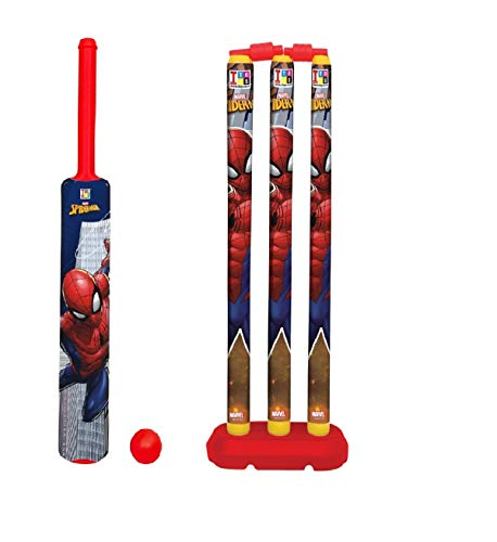 Brinzza Cricket Kit Set for Kids 3 Stumps with 1 Bat and 1 Ball for Playing Perfect Cricket Combo Set (Spiderman Cricket Set)
