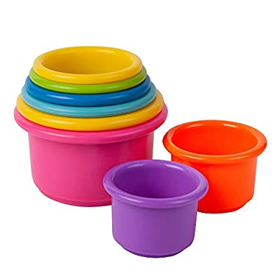 COLORFUL BABY TOYS: 8 brightly colored cups stack together with Unique Holes in the Bottom for water play STACKING CUPS: Children love to fit toy cups together, stack them up, or turn them over and hide things underneath BABY DEVELOPMENT TOYS: Large ...
