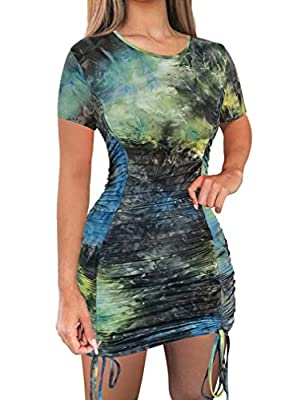Features: Drawstring closure,Back zipper closure, Bodycon dress, Lightweight Fabrics: 90% Polyester+10% Spandex, Very comfy and soft and the perfect length,Breathable material ideal for all seasons, pair with your high heels,sandals, or boots go out ...