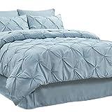 Bedsure Comforter Set Full/Queen Bed in A Bag Light-Blue 8 Pieces - 1 Pinch Pleat Comforter(88X88 inches), 2 Pillow Shams, Flat Sheet, Fitted Sheet, Bed Skirt, 2 Pillowcases