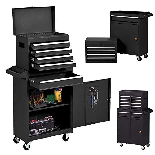 Product Image 8: Compact Tool Box Chest Combo 5 Drawer Mechanic Tool Box Small Heavy Duty Rolling Tool Chest on Wheels Tool Cabinet Organizer with Lockable Drawers Tool Chest Black