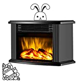 DONYER POWER 14' Mini Electric Fireplace Tabletop Portable Heater, 1500W, Black Metal Frame,Room Heater,Space HeaterGift