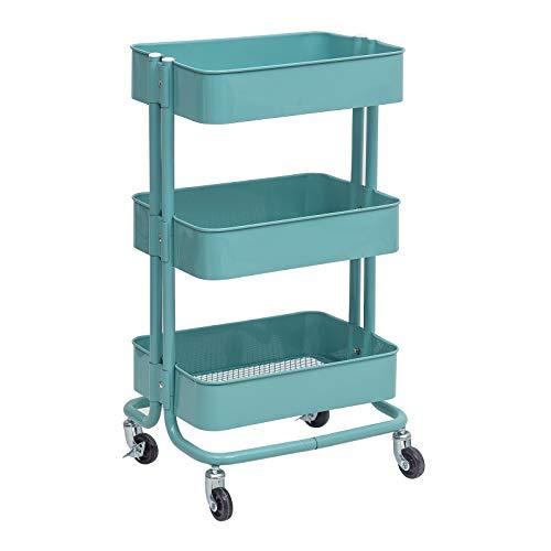 WOLTU Küchenwagen Rollwagen Servierwagen Küchentrolley Metall Roll Regal für Küche Bad Büro mit Rollen 3 Etagen Mint RW005mt