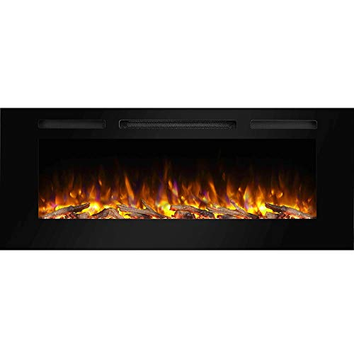 PuraFlame Alice 50 Inches Recessed Electric Fireplace, Flush Mounted for 2 X 6 Stud, Log Set & Crystal, 1500W Heater, Black