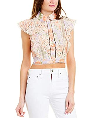 About the brand: A whimsical, and flirty celeb favorite. Approximately 16in from shoulder to hem Cavan Eyelet Blouse in posy garden dusty orchid with eyelet lace design with sheer ladderstitch trim, spread collar, and ruffled sleeves Button front 100...