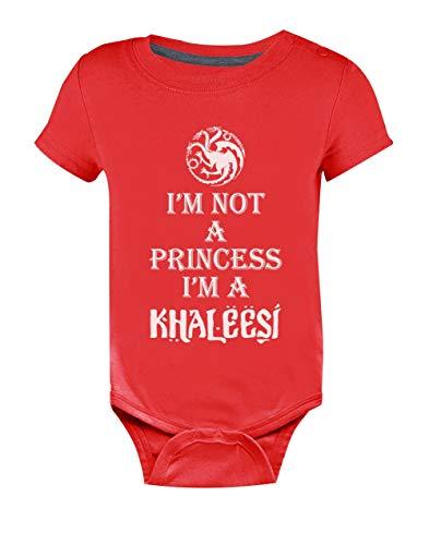 Body de Manga Corta para bebé - I'm Not A Princess I'm A Khaleesi - Idea de Regalo para Niña Recién Nacida 3-6 Mes Rojo