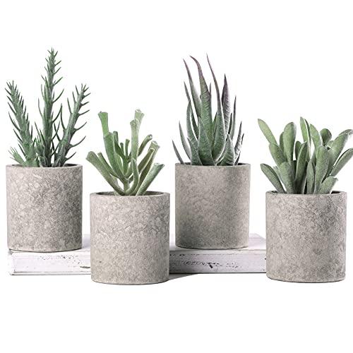 WUKOKU 4pcs Small Fake Plants Artificial Succulents Plants for Bedroom...