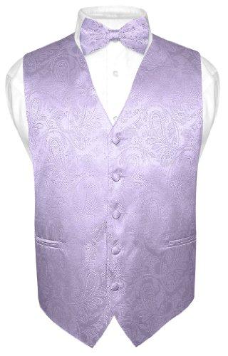 Men's Paisley Design Dress Vest & Bow Tie Lavender Color Bowtie Set for Suit Tux