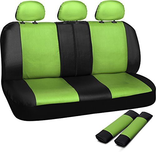 Motorup America PU Leather Bench Car Seat Cover Set with Seat Belt Pads - Low Back Set Fits Select Vehicles Car Truck Van SUV - Green/Black