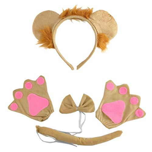 Nuobesty animal partido headband chapã©us orelhas de leã£o e cauda conjunto crianã§a crianã§as leã£o traje orelhas headband halloween crianã§as roupa