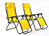 BRAVICH Weatherproof Set of 2 Reclining Sun Lounger | Heavy Duty Textoline Zero Gravity Chairs | Folding Outdoor Reclining Chair in Mustard