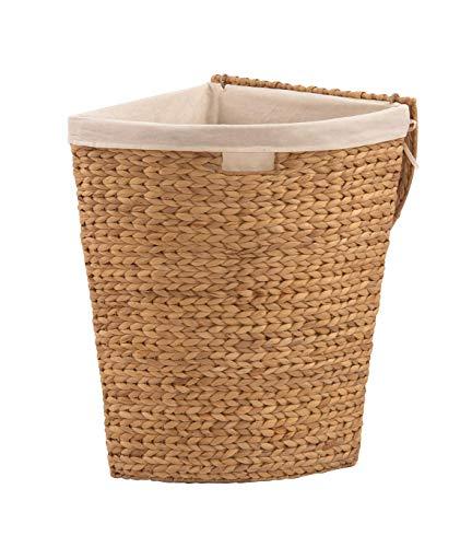 animal-design Wäschetruhe Wäschekorb Ecktruhe Eckwäschetruhe aus Wasserhyazinthe, für wenig Platz (Größe 1: B42 x T30 x H49cm)