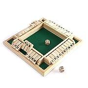 Foliner Shut The Box Würfel Brettspiel 4-Spieler-Tischspiel aus Holz Klassisches Würfel Brettspielzeug Mathematik Mathematisches Würfelspiel Familien-Mathe-Spiel für Kinder Familienparty-Geschenk