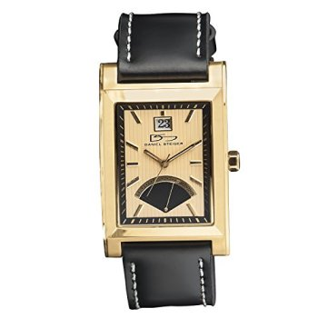 Daniel Steiger The Monticello Luxury Gold Leather Watch - Water Resistant - Precision Quartz Movement with Date Dial - Black Leather Strap - Gold Casing