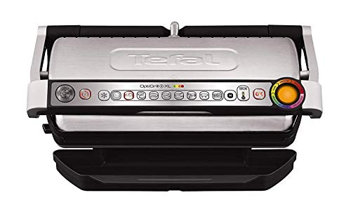 Tefal OptiGrill XL GC722D Kontaktgrill (mit Plus XL-Grillfläche, mit zusätzlichen Temperaturstufen, automatische Anzeige des Garzustands, 9 voreingestellte Programme) 40 cm x 20 cm, schwarz/Edelstahl