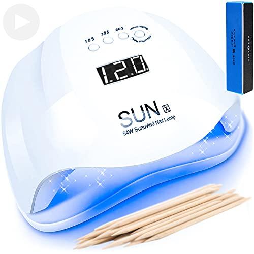 SUN X 2021 Lampada LED UV Fornetto Unghie 5 Timer e Sensore Movimento con doppia potenza 48W / 54W per Manicure e Pedicure Forno Asciuga Smalto Professionale per Semipermanente e Ricostruzione Gel
