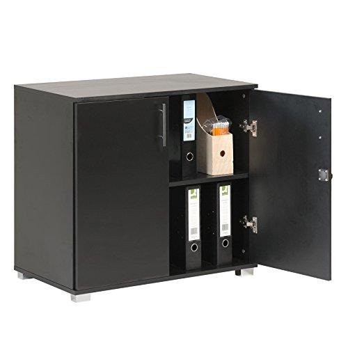 MMT Furniture Designs - Armadietto da ufficio, con 2 ante e serratura, altezza 73 cm, colore: Nero
