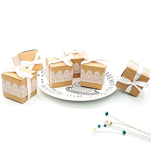 JZK 50 x cordón papel kraft fiesta cajas favor caja de regalo para los favores, dulces papel picado, pequeños regalos y joyas para la boda cumpleaños fiesta de bienvenida bebé sagrada comunión nav
