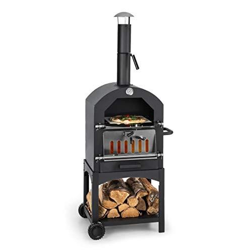 KLARSTEIN Pizzaiolo Perfetto Black Edition - Four à Pizza à charbons, Parois d'acier de 1,2 mm, Pierre en Argile réfractaire, Facile à déplacer, Thermomètre intégré, Noir