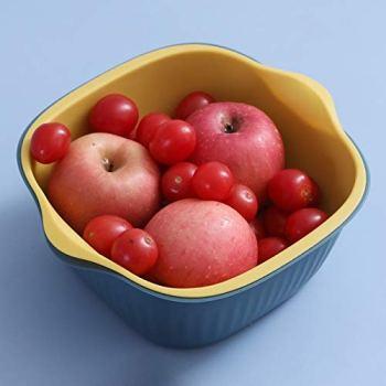 XGQ 5 PCS Ménage créatif Salon à Deux Couleurs Panier de vidange Cuisine Multi-Fonction Double Fruit Basket de légumes, Taille: M (Rose Bleu) (Color : Green Yellow)