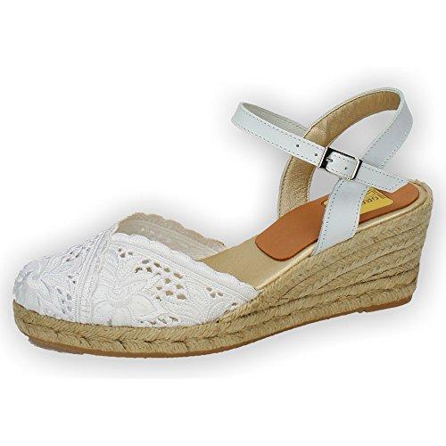TORRES 5004 Zapatillas DE Encaje Mujer Alpargatas Blanco 37