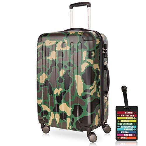HAUPTSTADTKOFFER - Spree - Hartschalenkoffer Rollkoffer + Kofferanhänger, erweiterbarer Reisekoffer , TSA, 4 Rollen, 65 cm, 74 Liter, Camouflage