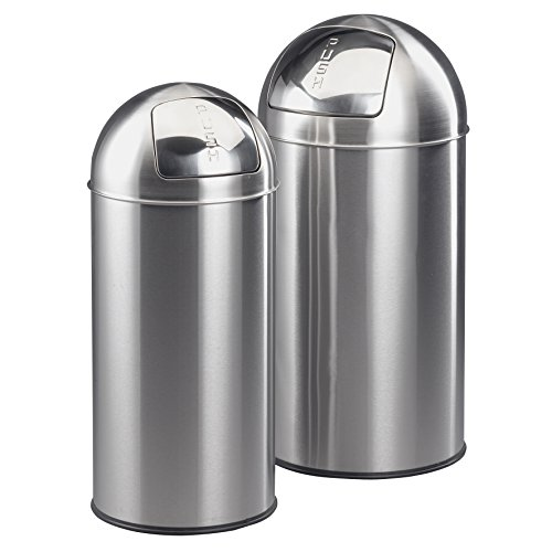 axentia Mülleimer-Set ca. 38 L und ca. 28 L, Abfalleimer mit hygienischer Push-Klappe, Mülltonne aus rostfreiem Edelstahl/Zink