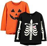 Simple Joys by Carter's Girls' Toddler 2-Pack Halloween Long-Sleeve Tees, Pumpkin/Skeleton, 5T