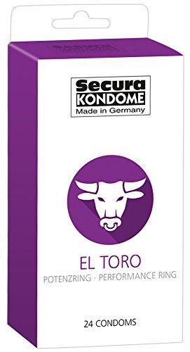 Secura El Toro 24er Kondome - 24 Präservative zur Verhütung ohne Hormone für Männer, integrierter Potenzring, längere Erektion