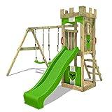 FATMOOSE Parco giochi in legno TreasureTower Giochi da giardino con altalena e scivolo mela verde, Torre d'arrampicata da esterno con sabbiera e scala di risalita per bambini