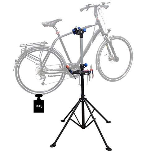 TRUTZHOLM® 360° Reparaturständer Fahrradmontageständer 50 kg mit Stativ Fahrradständer mit Werkzeugablage höhenverstellbar & klappbar, Fahrrad Montage Ständer belastbar bis 50 kg