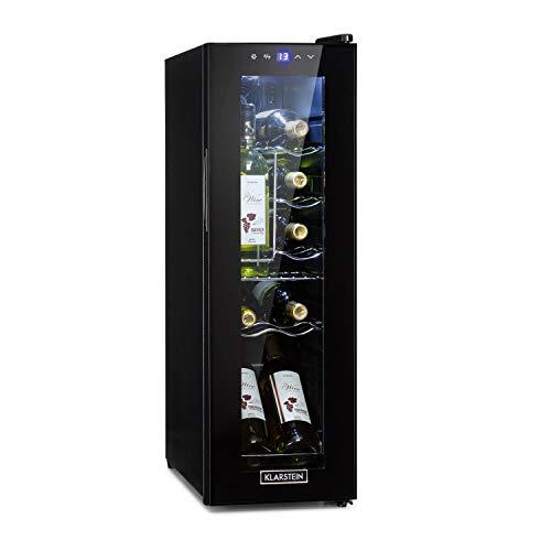 KLARSTEIN Shiraz Slim - Frigorifero per Vini, Cantinetta, Classe Energetica G, 5-18 C, 42 dB, Pannello Soft-Touch, Luce LED, Posizionamento Libero, 3 Ripiani, 32 Litri, per 12 Bottiglie, Nero