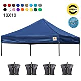 ABCCANOPY Pop Up Canopy Replacement Top Cover 100% Waterproof Choose 18+ Colors, Bonus 4 x Weight Bags (Navy Blue)