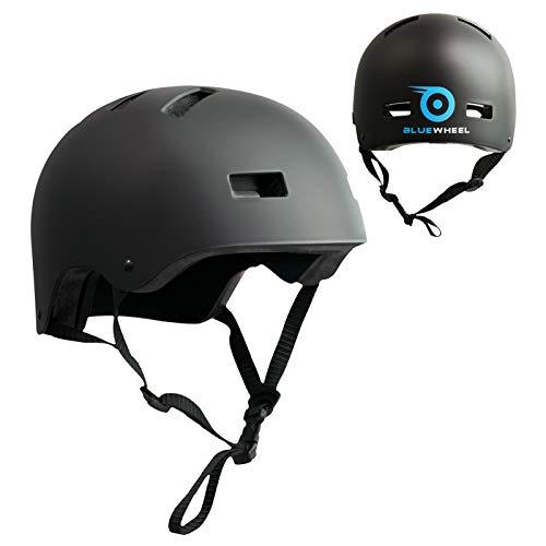Bluewheel Helm H30 für Hoverboard, Inline-Skate, BMX Fahrrad; 3 schichtiger Aufbau für mehr Sicherheit, Belüftungssystem, passgenau in matt schwarz - für Kinder & Erwachsene (Schwarz, L : 56-62 cm)