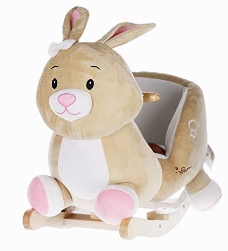 Bieco Plüsch Schaukel-Tier Hase Hopsi, Kinder Schaukelstuhl, Sicherheitsgurt und Rückenlehne, Plüschschaukel für Babys und Kleinkinder ca. 60 x 31 x 50 cm , 74004013 …