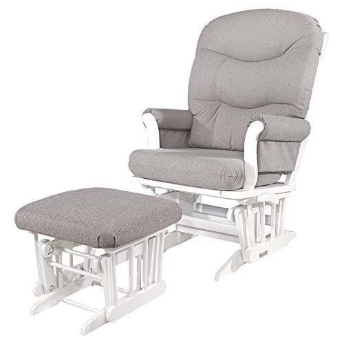 Dutailier Adèle Glider Chair and Ottoman Set with Multi-Position Lock (White/Light Grey)