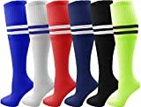Kids Soccer Socks, 6 Pairs for Boys Girls, Youth Knee High Athletic Sports Football Gym School Team Pack for Children (Small, Assorted)