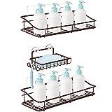 Nieifi Shower Caddy Basket with Hooks Soap Dish Holder Shelf for Shampoo Conditioner Bathroom Kitchen Storage Organizer SUS304 Stainless Steel Adhesive No Drilling - 3 Pack Bronze