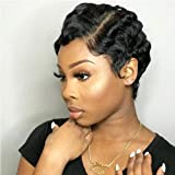Short Finger Wave Wigs Brazilian Mommy Wigs Ocean Wave Pixie Wig Remy Human Hair Short Cut Curly Wigs For Black/White Women (1B# Natural Black)