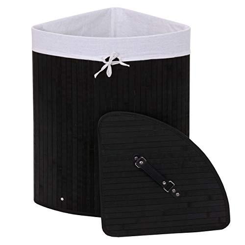 Mendler Eckwäschekorb HWC-C21, Laundry Wäschebox Wäschesammler Wäschebehälter, Bambus 61x48x35cm 50l - schwarz