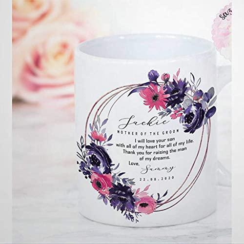 Madre del novio presenta taza de café Madre de la novia novio taza de cerámica Regalos florales morados para la suegra de su nuera Regalos de boda