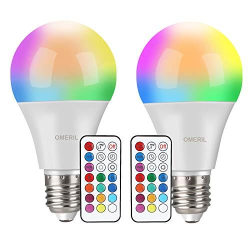 Lampadine Colorate LED, OMERIL 10W Lampadine E27 Cambia Colore RGBW Lampadine Multicolore...