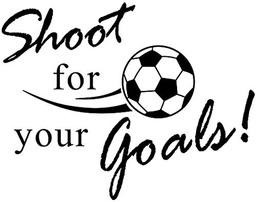 AWSN Inspirational motivational Lettering quotes Wall Decor for Women Boys Girls Kids Living Room bedroom Playroom Nursery Room Wall Stickers Decoration- Shoot for Your Goals Soccer Football Vinyl Art Decals