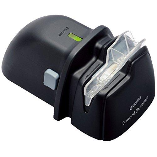 Kyocera DS-38 Diamant-Messerschärfer, batteriebetrieben für Keramik- und Stahlklingen für Rechtshänder, schwarz