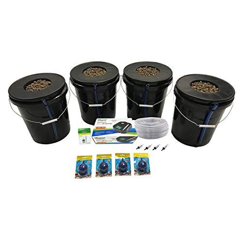 Viagrow VDIY Bucket Deep Water Culture Hydroponic 4 Plant System, Black