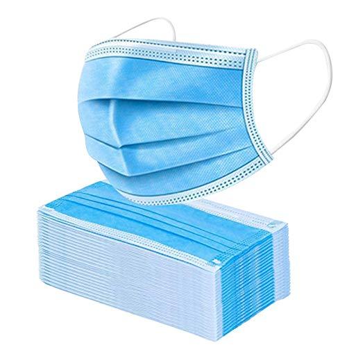 U-Kiss 50 pezzi Mascherine monouso, 3 strati di protezione, Con ganci auricolari elastici blu, Usati per proteggere da...