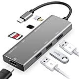 USB C Hub, LHMZNIY 7 in 1 Type C Adapter with 100W Power Delivery, 4K USB C to HDMI, SD/TF Card Reader, 3 USB 3.0 Ports for MacBook/Pro/Air, Chromebook and Other Type C Windows Laptops